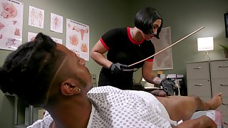 Asian nurse Mia Little abuses her black slave before he fucks her