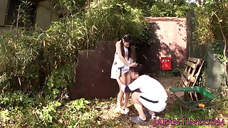 Tiny Japanese babe fucked between legs outdoors