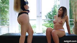 Lucky stud takes care of Sloan and her busty friend Kendra