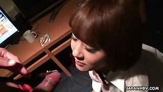 Kinky Asian teacher fucks mouth and pussy of beautiful Japanese college chick Hitomi
