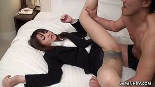 Asian college chick Kimoko Tsuji is fucked in her crazy hairy pussy