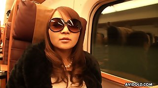 Freakish and weird anticipating in sunglasses Japanese nympho Minako Sawada gives head
