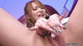 Giggling lovely fresh Japanese cutie tickles the brush wet pussy