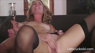 Gold Hair Lady Mommy Crave Husband Watching - FUCK Dusting