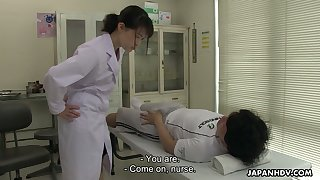 Kawaii Jap nurse Sayaka Aishiro is commandeer to give a good blowjob