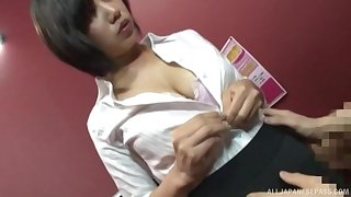 Despondent secretary adores hard sex with her colleague in her office