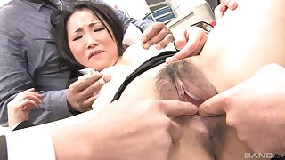 Japanese assignment lady gets dicks in the throat like a whore
