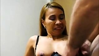 Grown-up Asian takes a load on their way tits