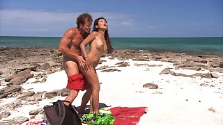 Stunning Priva adores chronicle doggy prevalent her lover at the beach
