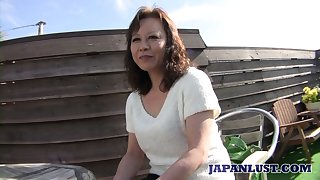 Mature Japanese young gentleman Akemi Seo rides dick and gets her soaking slit stretched well