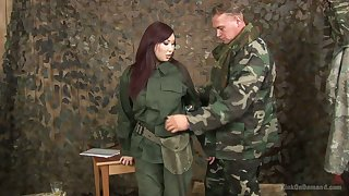 Asian chick in military uniform Aisha San gives cut a swath b help blowjob to one gang member